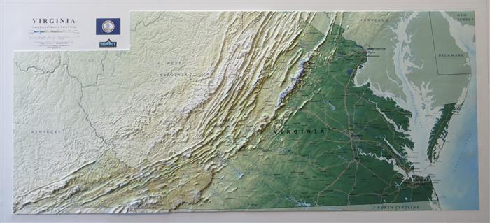 3D Virginia Geophysical Relief Map