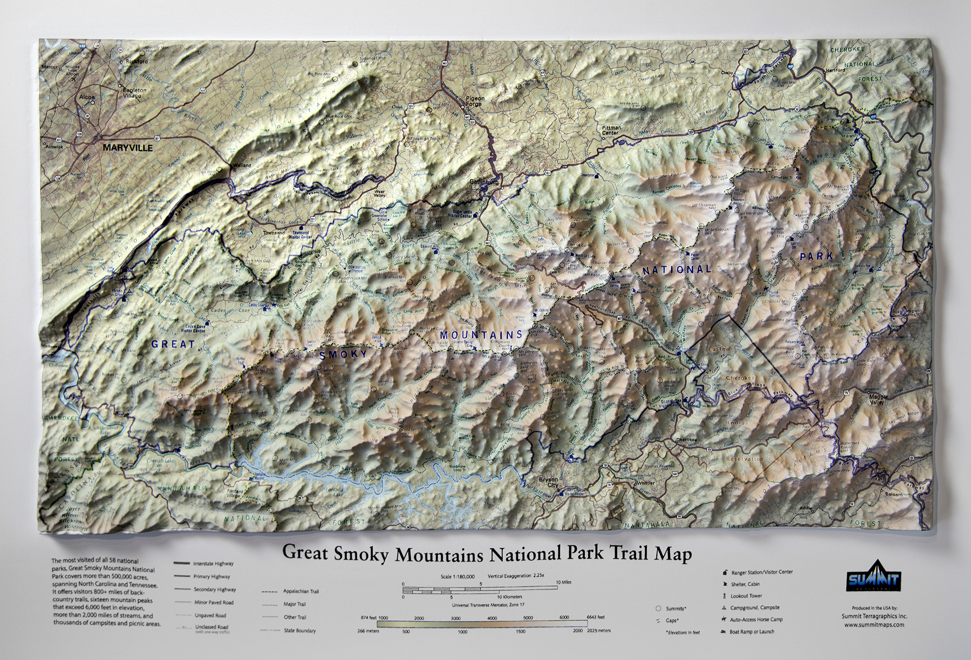 Great Smoky Mountains National Park Trail Map - Summit Maps on