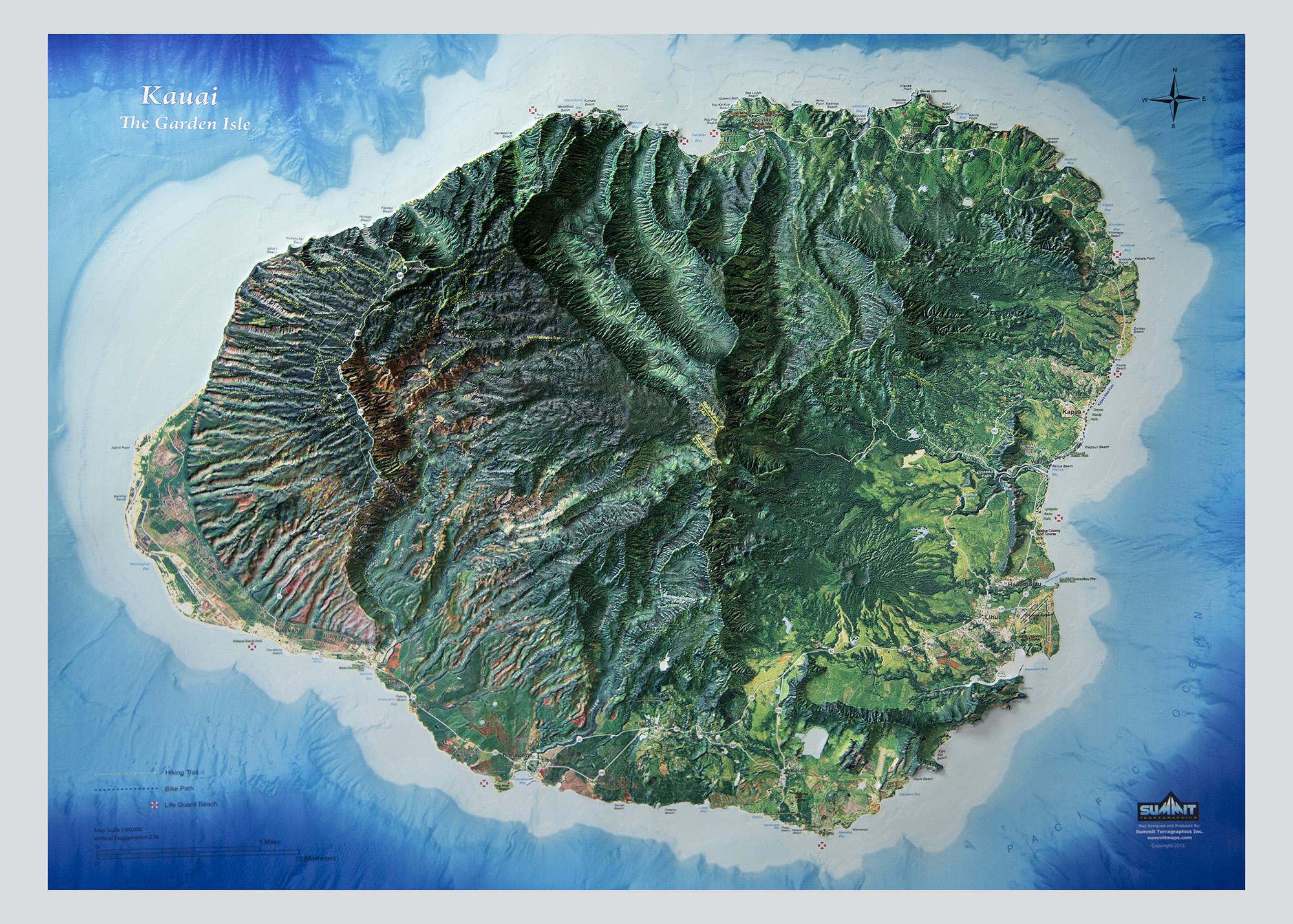 Kauai Hawaii 3d Orbital Image Map 0040 Summit Maps