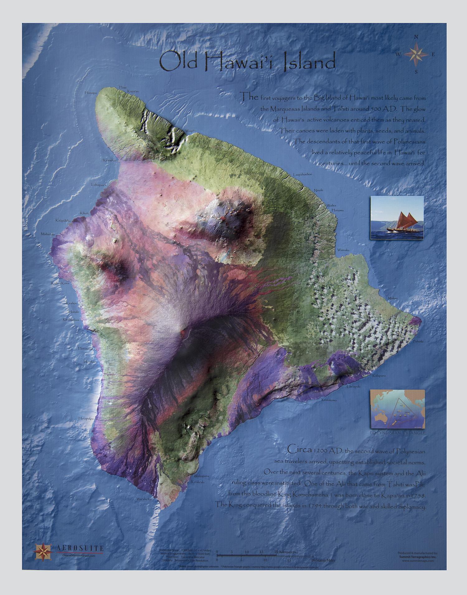 Hawaii the big island raised relief map summit maps gumiabroncs Choice Image