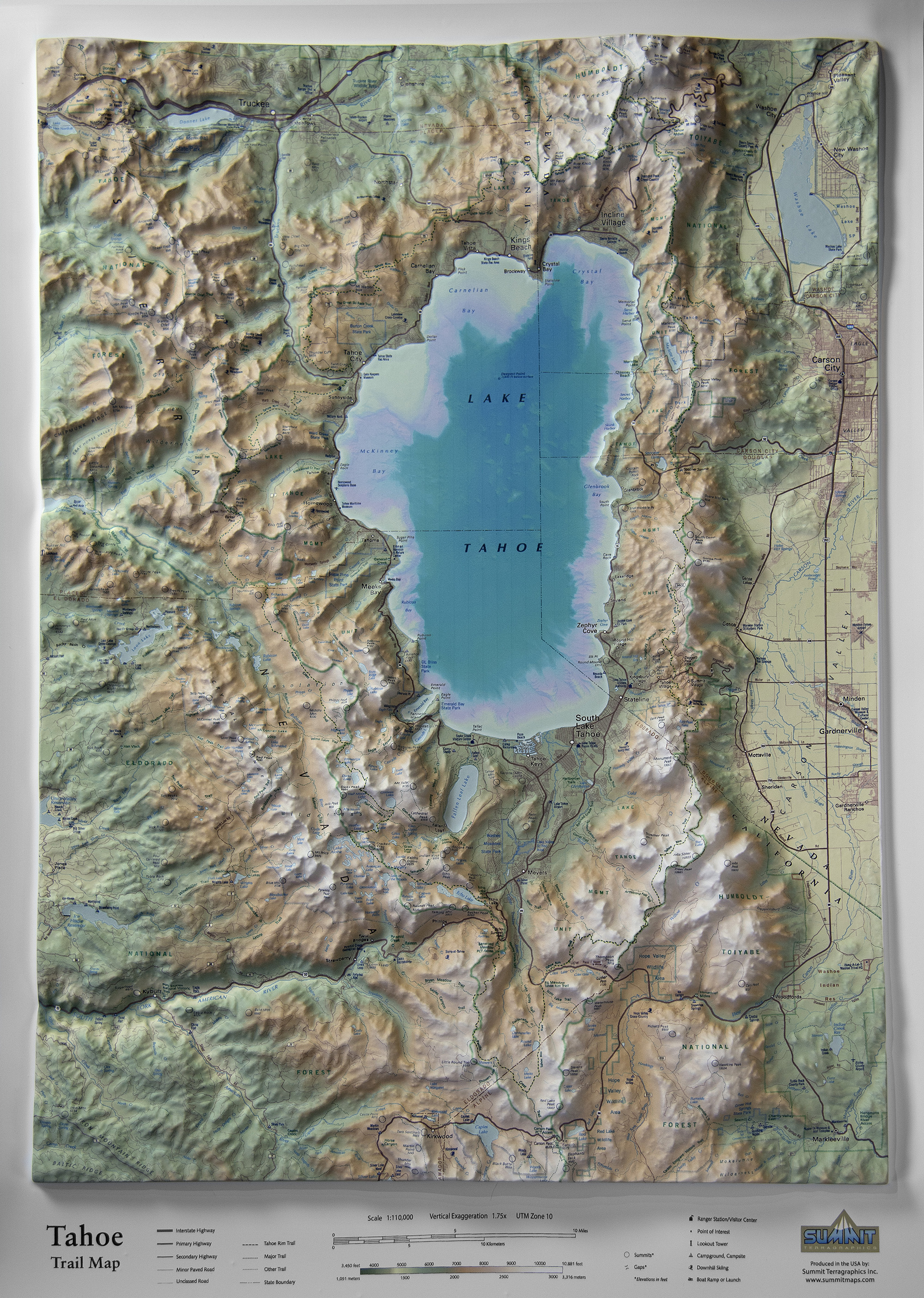 Tahoe Trail Map in 3D raised relief - Summit Maps