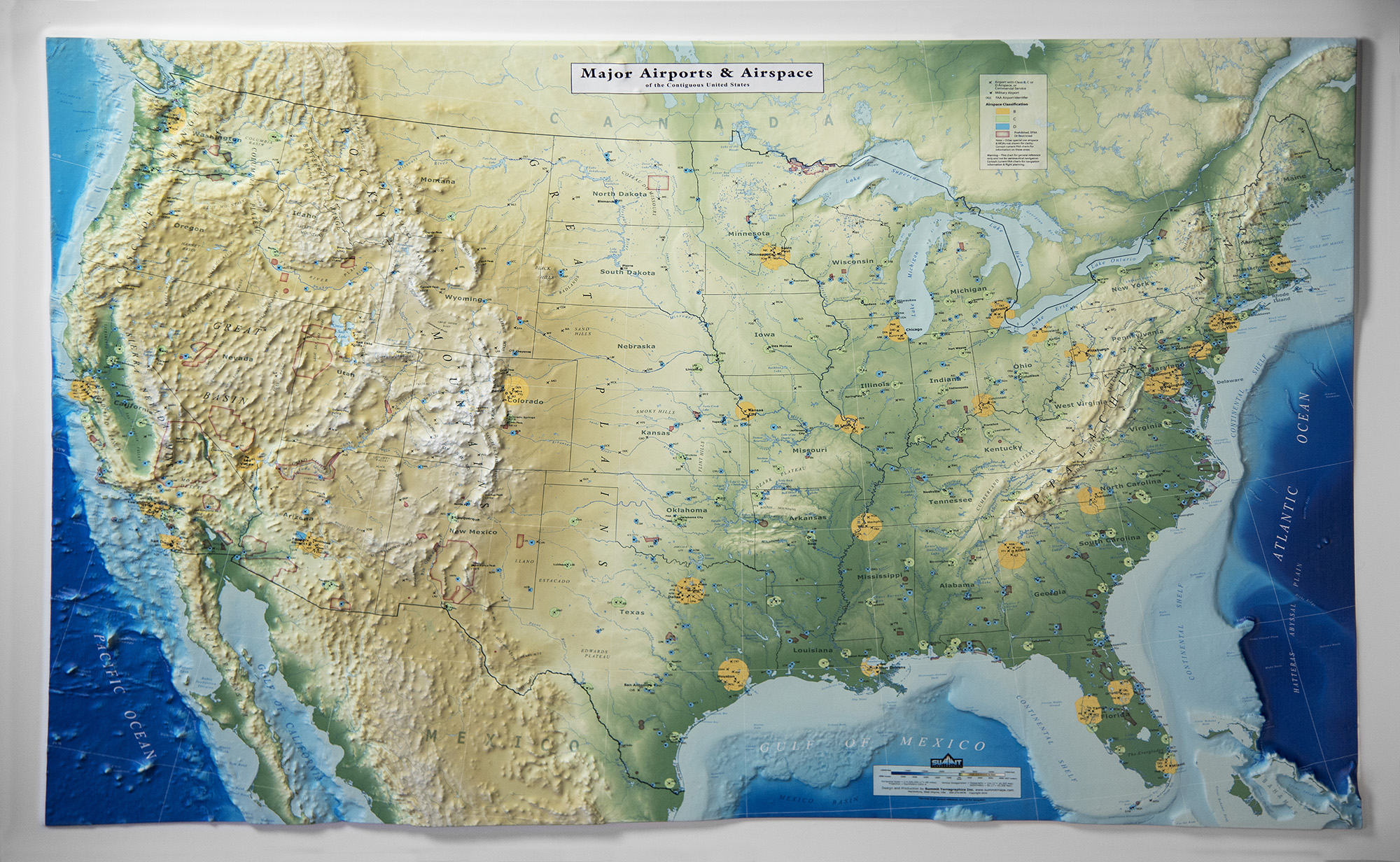 3d Map Of Us.3d Us Map Major Airports And Airspace Version Summit Maps